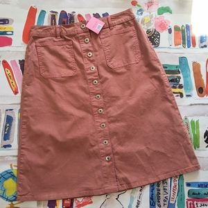 NWT Kate Spade Button Midi Skirt Early Nude 12